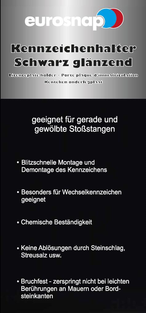 EUROSNAP 1x Kennzeichenhalter schwarz \