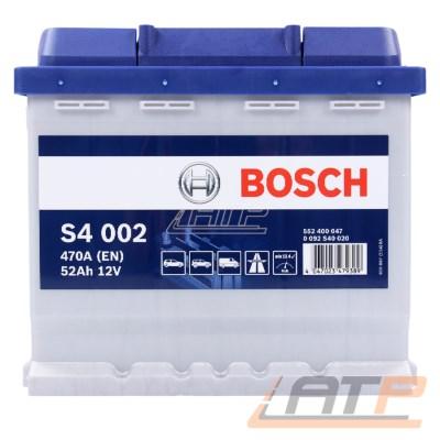 1x BOSCH S4 002 Autobatterie Starterbatterie Batterie 52Ah 4700A 12V