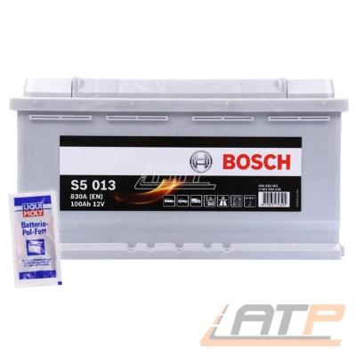 BOSCH S5 013 100-AH 12-V 830-A AUTOBATTERIE STARTERBATTERIE PKW KFZ BATTERIE + LIQUI MOLY BATTERIE-POL-FETT 10g