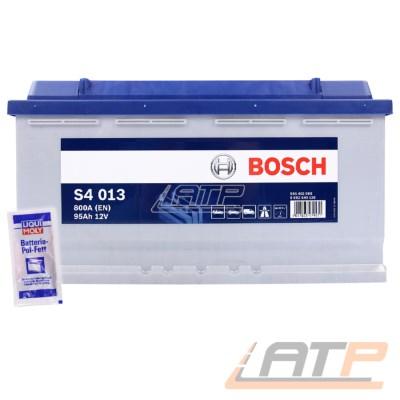 BOSCH S4 013 95-AH 12-V 800-A AUTOBATTERIE STARTERBATTERIE PKW KFZ BATTERIE ERSETZT  87-AH 88-AH 90-AH 92 + LIQUI MOLY BATTERIE-POL-FETT 10g